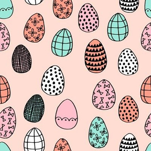 easter eggs // coral mint pink easter fabric easter eggs fabric pastels pastel design egg fabric