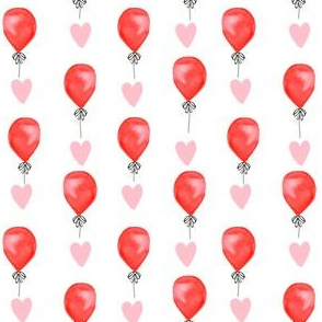 love balloons  - cute red and pink balloon watercolors fabric