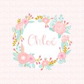 chloe playmat custom name playmat cute girls floral wreath spring florals