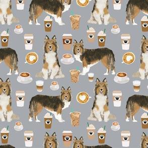 sheltie fabrics shetland sheepdog and coffees fabric - quarry grey