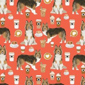 sheltie fabrics shetland sheepdog and coffees fabric - orange