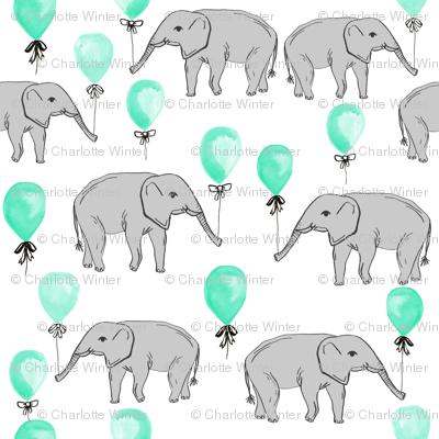 elephant balloon baby print cute elephant design nursery elephant fabric mint balloon