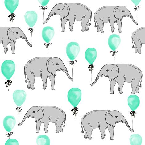 elephant balloon baby print cute elephant design nursery elephant fabric mint balloon fabric by charlottewinter on Spoonflower - custom fabric
