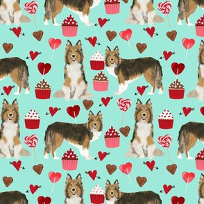 sheltie fabric love dogs valentines day fabric shetland sheepdog design - aqua