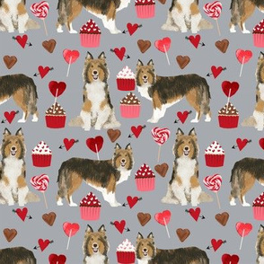 sheltie fabric love dogs valentines day fabric shetland sheepdog design - grey
