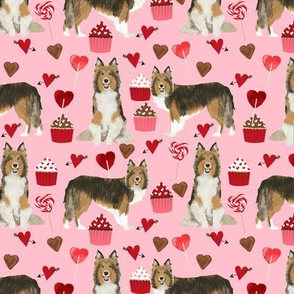 sheltie fabric love dogs valentines day fabric shetland sheepdog design - blossom pink