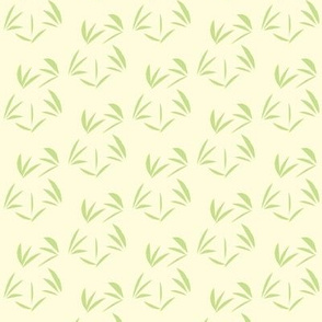 Cool Spring Green Oriental Tussocks on Magnolia Cream - Small Scale