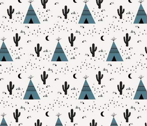 Blue Teepee fabric by kimsa on Spoonflower - custom fabric