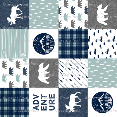 """3"""" small scale (90)- patchwork the happy camper wholecloth 