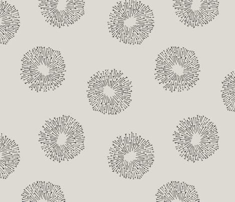 Dandelions white fabric by inkandcraft on Spoonflower - custom fabric