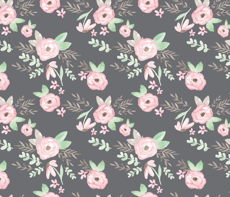 Charlotte Floral Charcoal fabric by pacemadedesigns on Spoonflower - custom fabric