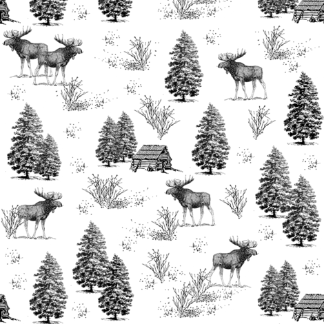 moose in the wild 3 fabric by stofftoy on Spoonflower - custom fabric