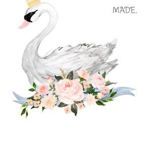 2 Yards - Swan with Roses with Spacing Quote