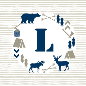 letter l monogram boys nursery taupe and navy