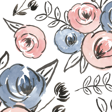 Baby pink and blue watercolor floral - large fabric by smallhoursshop on Spoonflower - custom fabric