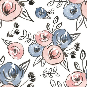 Baby pink and blue watercolor floral - large