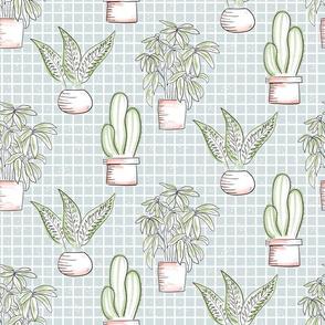 Houseplants - blue tile
