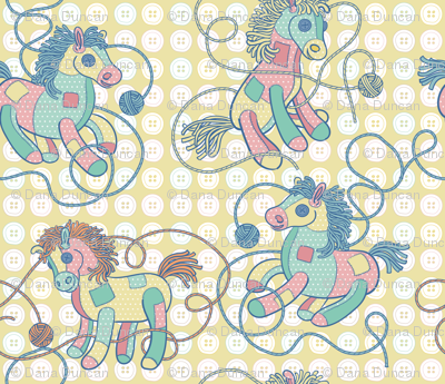 Patchwork Ponies in Yellow