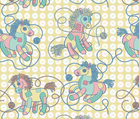 Patchwork Ponies in Yellow fabric by pinkowlet on Spoonflower - custom fabric