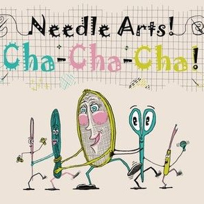 Needle Arts! Cha-Cha-Cha! Quieter version, chartreuse lime green pink turquoise blue cream black