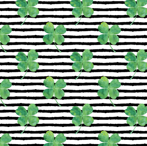 watercolor clover on stripes fabric by littlearrowdesign on Spoonflower - custom fabric