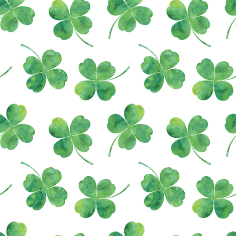 shamrock toss || watercolor white fabric by littlearrowdesign on Spoonflower - custom fabric
