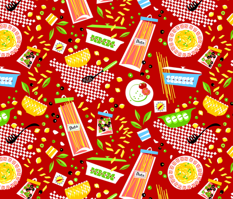 Pasta'n'peas - la cucina! fabric by moirarae on Spoonflower - custom fabric