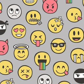 Smiley Emoticon Emoji Doodle on Grey