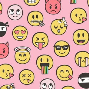 Smiley Emoticon Emoji Doodle on Pink
