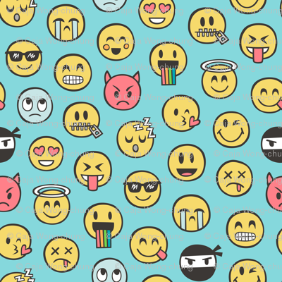 Smiley Emoticon Emoji Doodle on Blue
