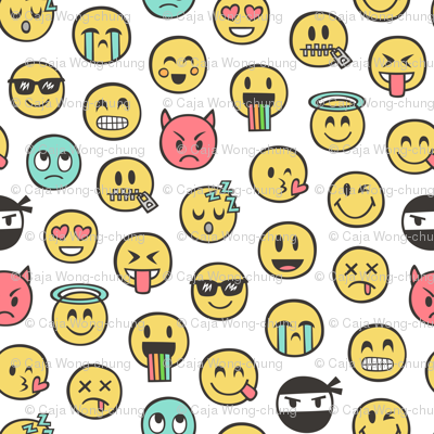 Smiley Emoticon Emoji Doodle On White Wallpaper Cajadesign
