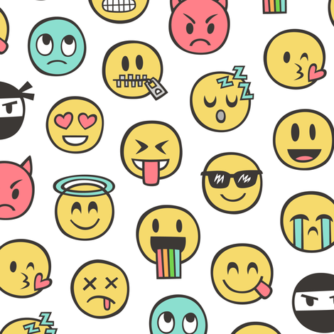 Smiley Emoticon Emoji Doodle on White fabric by caja_design on Spoonflower - custom fabric