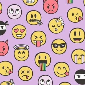 Smiley Emoticon Emoji Doodle on Purple Purpel
