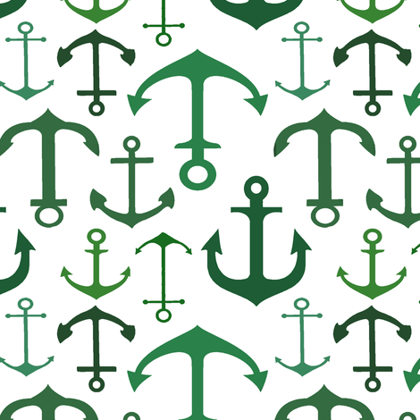 Aqua Anchors // Vertical  fabric by thinlinetextiles on Spoonflower - custom fabric