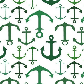 Green Anchors // Vertical // Nautical Collection