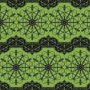 Gimlet Star Lace on Ferny Green - Large Scale