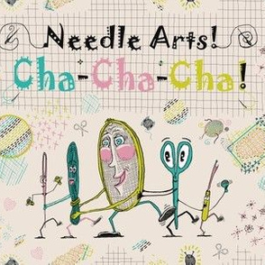 Needle Arts! Cha-Cha-Cha! Busier version, chartreuse lime green pink turquoise blue cream black