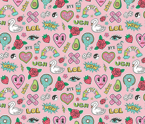 Stitched Patches 90's Doodle with Hearts, Roses, Speech, Swans & Love on Pink fabric by caja_design on Spoonflower - custom fabric