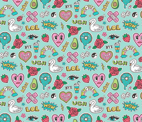Stitched Patches 90's Doodle with Hearts, Roses, Speech, Swans & Love on Mint Green fabric by caja_design on Spoonflower - custom fabric