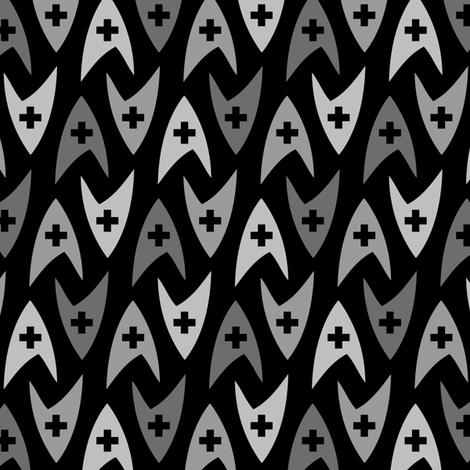 Star Trek TOS Medical Insignia - Greyscale fabric by meglish on Spoonflower - custom fabric
