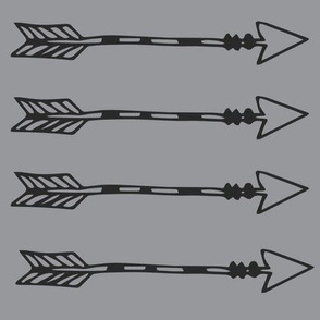 Tribal Arrows Black on Grey - Monochrome Arrows