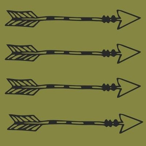 Tribal Arrows Black on Olive Green