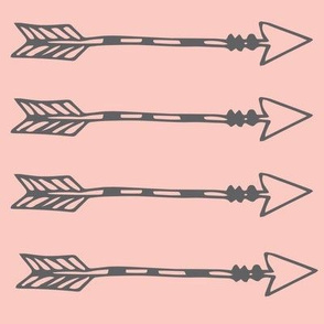 Tribal Arrows Grey on Blush Pink