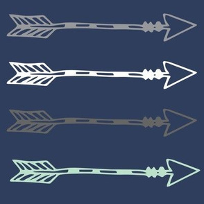 Tribal Arrows Boy Woodland - Navy Arrows - Mint Arrows - Grey Arrows