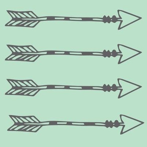 Tribal Arrows Grey on Mint