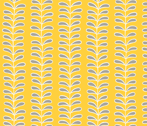 Paisley vines gray & yellow fabric by inkandcraft on Spoonflower - custom fabric