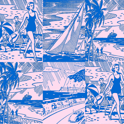 Midcentury Vacation Postcards in Pink + Blue fabric by elliottdesignfactory on Spoonflower - custom fabric