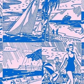 Midcentury Vacation Postcards in Pink + Blue