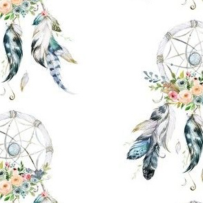 "5.25"" Floral Blue & White Dream Catcher"