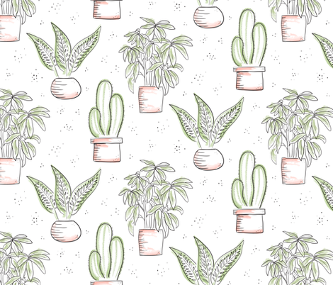 Houseplants - white fabric by byre_wilde on Spoonflower - custom fabric